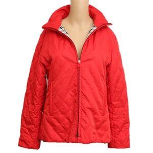 NEW Burberry Quilted Jacket M Red